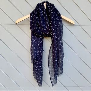 J. Crew Navy Blue Scarf with Anchor Design